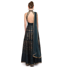 Blue & Gold Raw Silk Embroidered Anarkali Suit