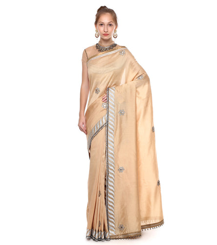Gold & Beige Chanderi Embroidered Saree