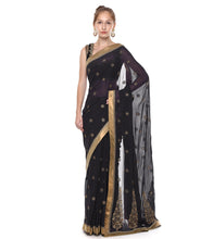 Navy Blue Georgette Embroidered Saree