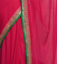 Green & Magenta Georgette Embroidered Saree