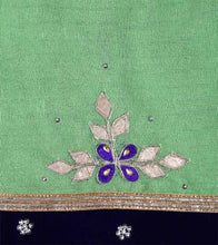 Green & Blue Georgette Embroidered Saree
