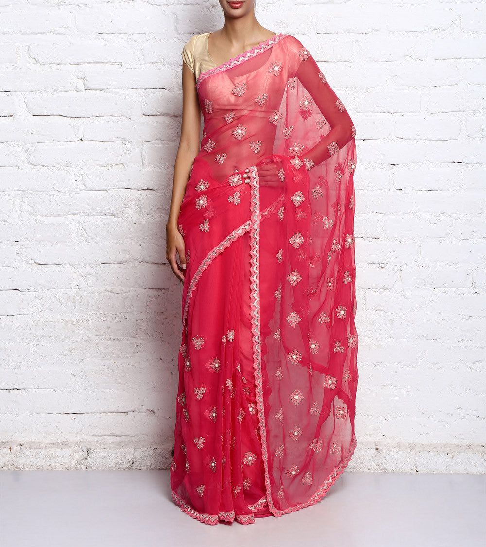 Pink Georgette Embroidered Saree