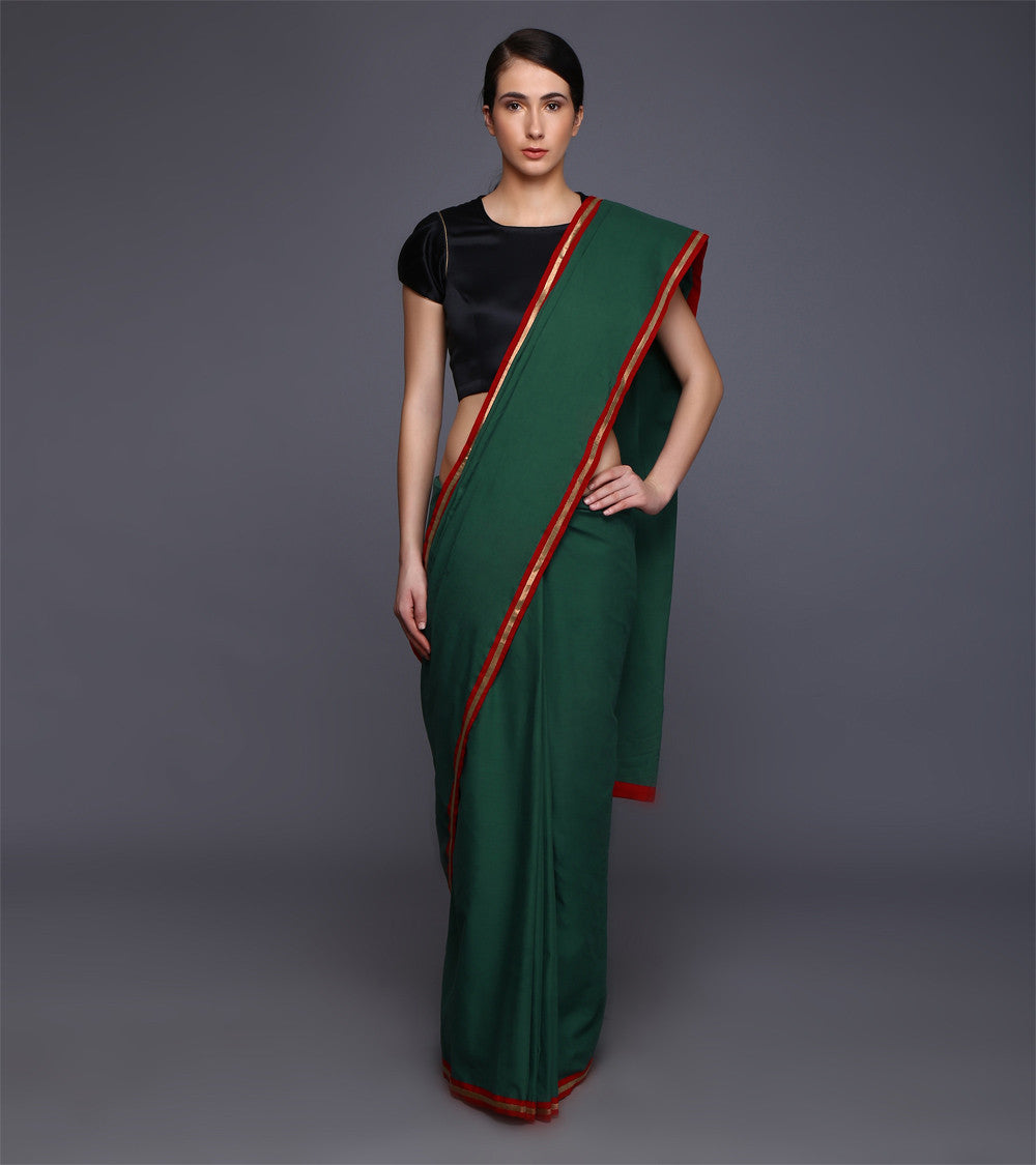 Green Cotton Gota Work Saree