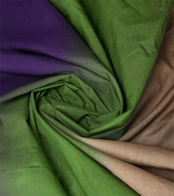 Green & Purple Cotton Dip Dyed & Gota Work Saree