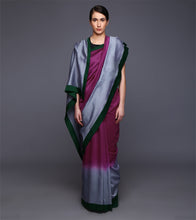Magenta & Grey Chanderi Dip Dyed Saree