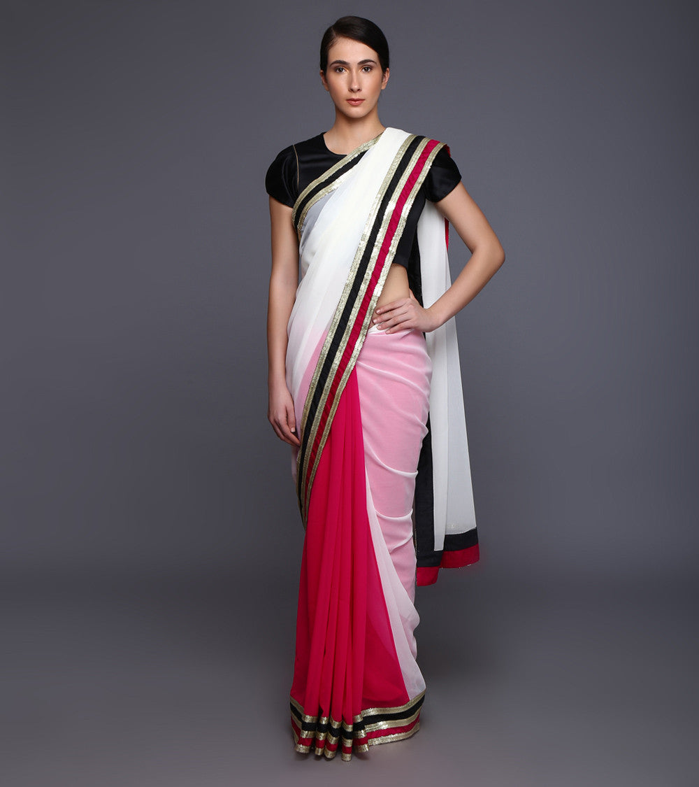 Cream & Pink Georgette Sequined Saree