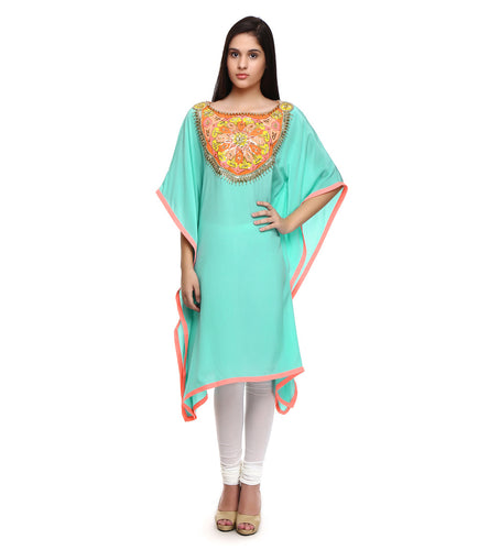 Blue Pure Crepe Embroidered Kaftan