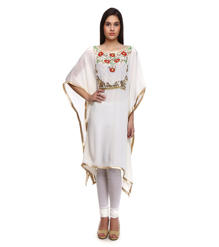 White Viscose Crepe Embroidered Kaftan