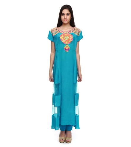 Turquoise Viscose Crepe Embroidered Tunic