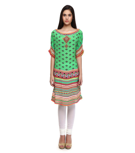Multicoloured Viscose Crepe Embroidered & Printed Tunic