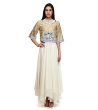 White Viscose Georgette Embroidered Anarkali Suit With Cape