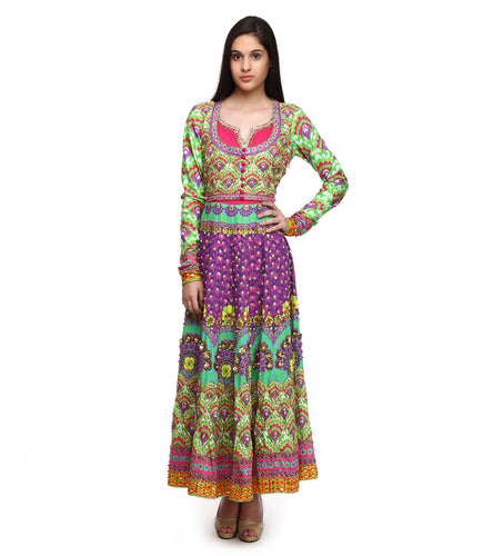 Multicoloured Pure Crepe Embroidered & Printed Anarkali