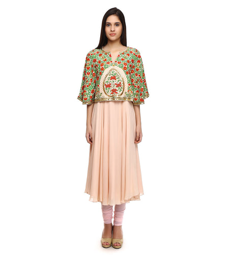 Light Pink Viscose Georgette Embroidered & Printed Anarkali Suit With Cape