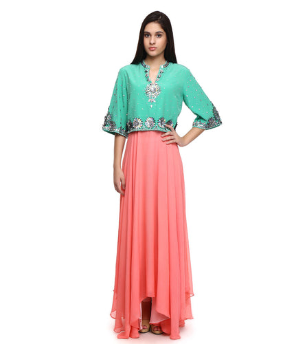 Pink & Green Pure Georgette Embroidered Anarkali Suit With Cape