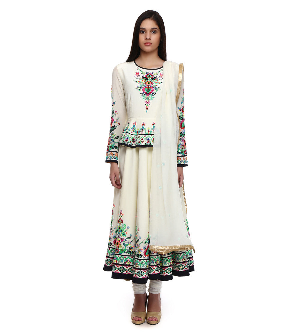 White Pure Crepe Embroidered Anarkali With Peplum