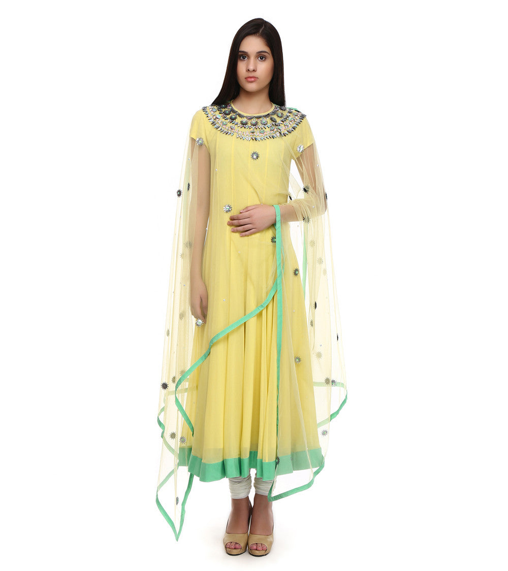 Yellow Pure Georgette Embroidered Anarkali Suit