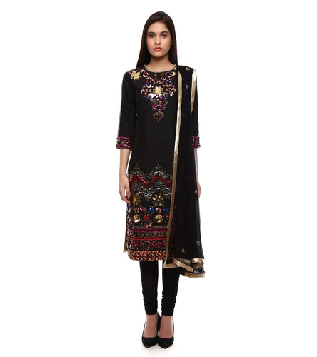 Black Raw Silk Embroidered Churidar Suit
