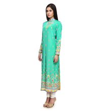 Green Viscose Crepe Embroidered Churidar Suit