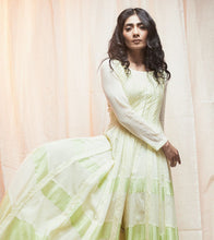 Green Mul & Chanderi Texturing Done Anarkali Suit