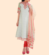 Green Chanderi Printed & Embroidered Churidar Set