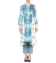 Blue Khadi Printed Kurta With Pants