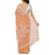 Orange Embroidered Georgette Sarees
