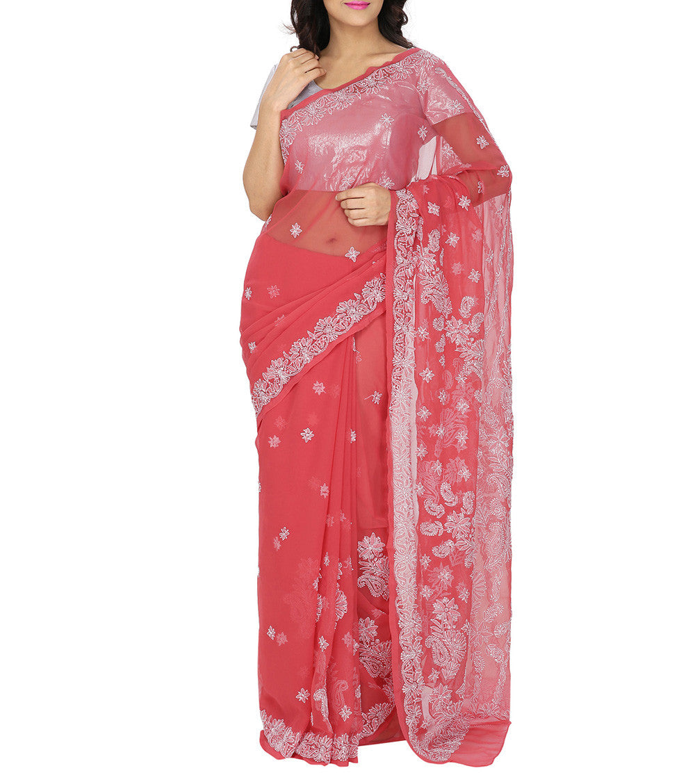 Red Embroidered Georgette Sarees
