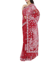 Maroon Embroidered Georgette Sarees