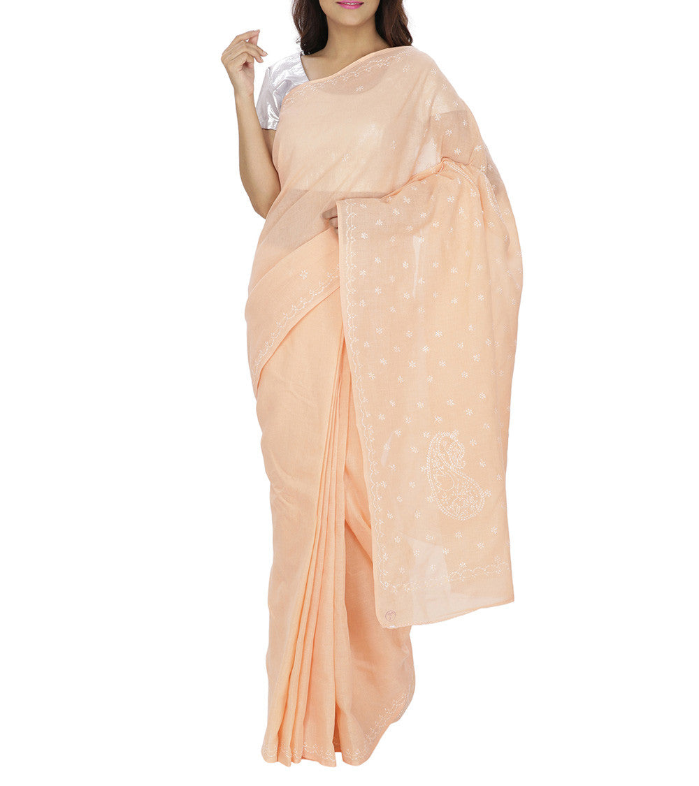 Pink Embroidered Cotton Sarees