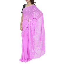 Pink Embroidered Georgette Sarees