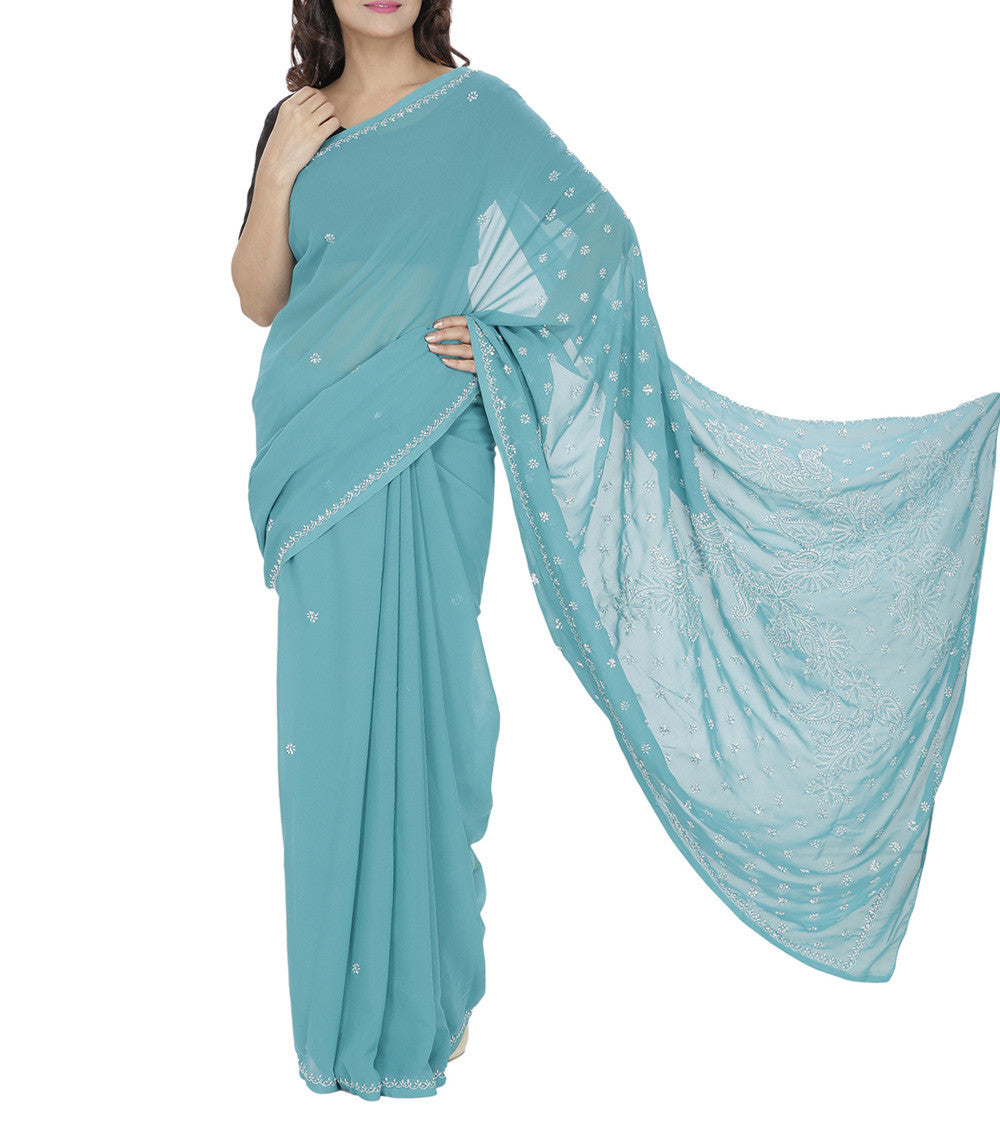 Blue Embroidered Georgette Sarees