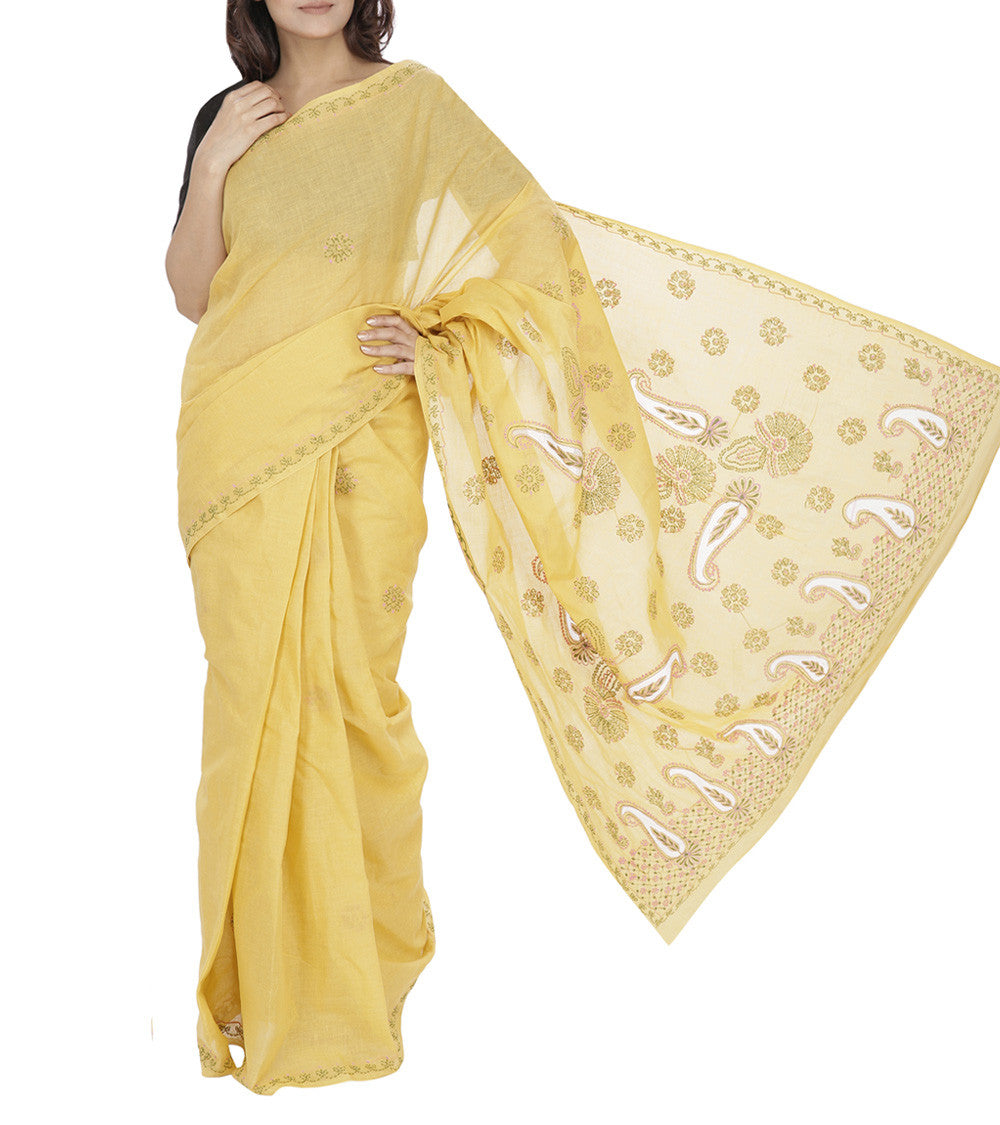 Yellow Embroidered Cotton Sarees