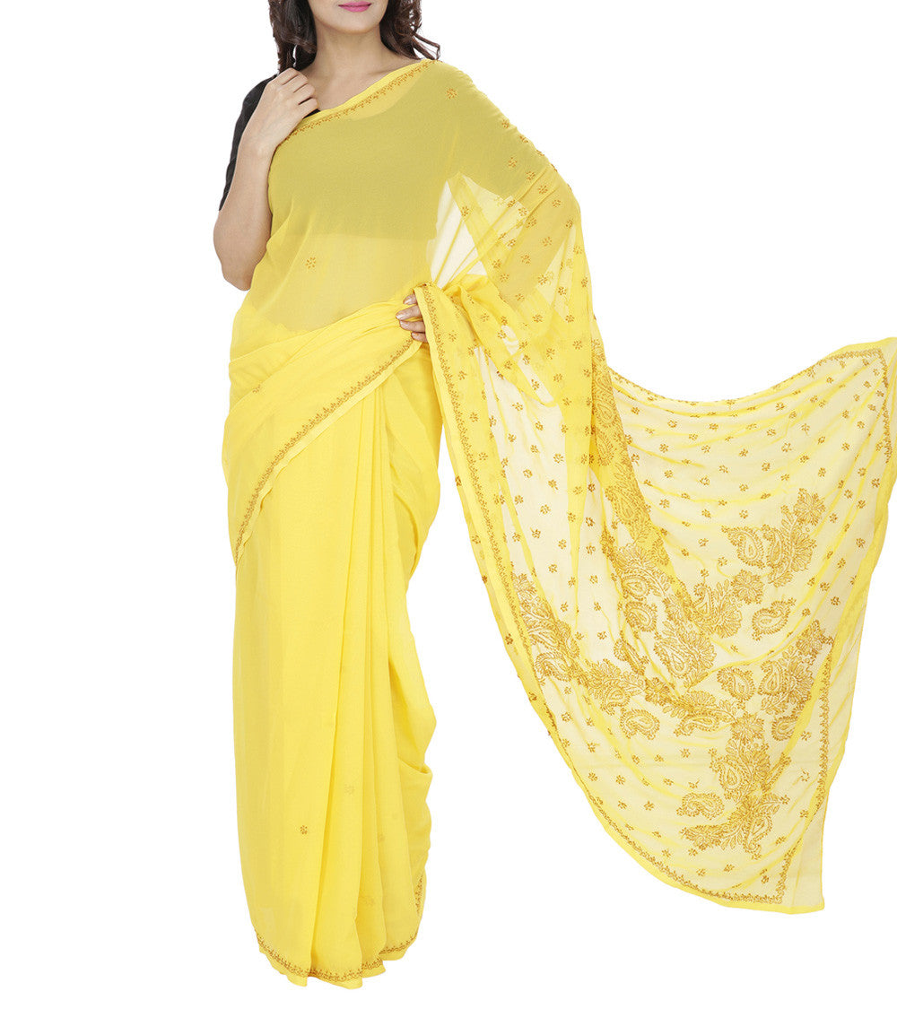Yellow Embroidered Georgette Sarees