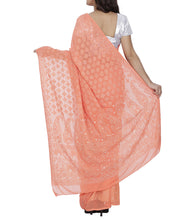 Orange Georgette Chikankari Saree With Blouse Piece