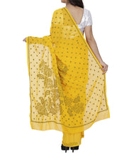 Yellow Georgette Chikankari Saree With Blouse Piece