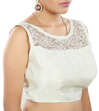 White Raw Silk Embroidered Saree Blouse