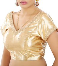 Golden Embroidered & Gota Work Saree Blouse