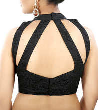 Black Net Embroidered Saree Blouse