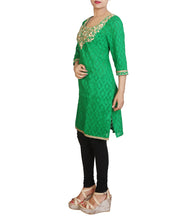 Green Cotton Jacqaurd Embroidered Kurti