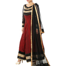Red & Black Georgette Embroidered & Sequined Anarkali Suit