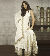 White Rayon Embroidered Kurta With Sharara & Dupatta