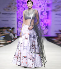 Grey Net Embroidered Skirt With Gunmatel Strip Work Blouse & Dupatta