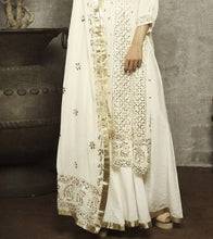 White Georgette Embroidered Gharara Set