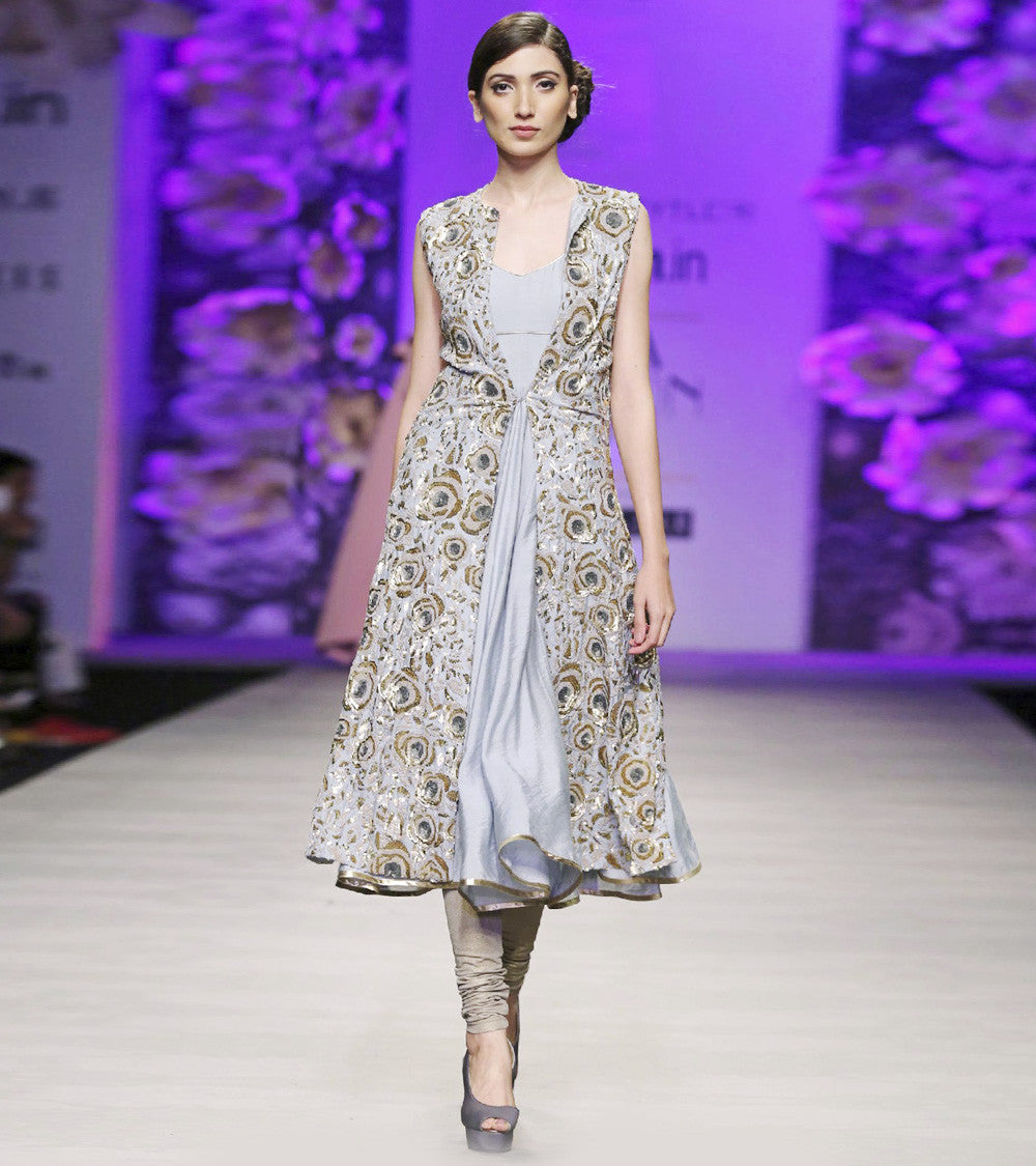 Grey Rayon Embroidered Jacket with Anarkali & Churidar
