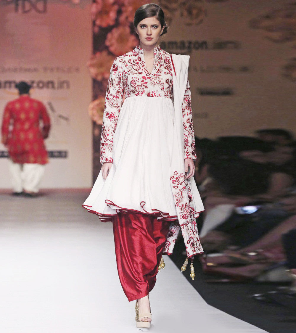 Red Silk Embroidered Short Anarkali With Patiala & Dupatta