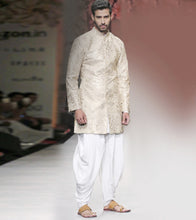 White Rayon Embroidered Sherwani With Kurta & Draped Pant