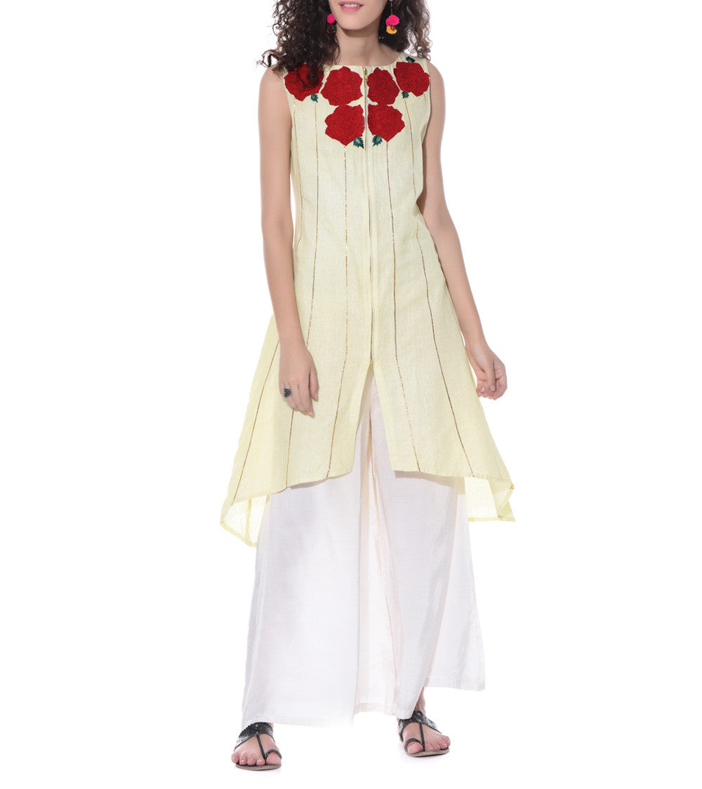 Yellow Linen & Cotton Resham Embroidered Tunic