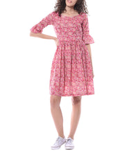 Pink Cotton Printed Dress