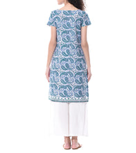 White & Blue Cotton Printed Tunic