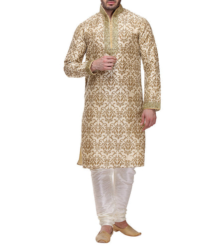 Golden Dupion & Art Silk Printed Kurta & Churidar